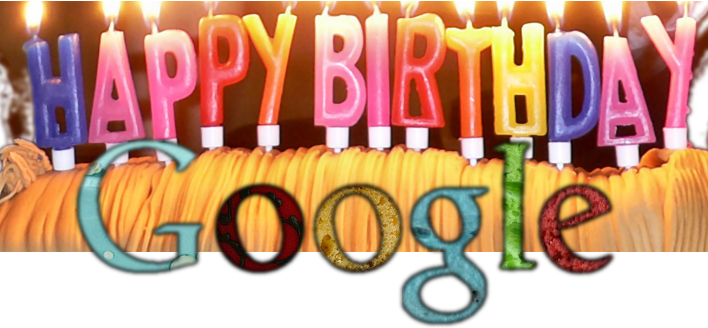 Custom designed Google birthday cake logo with 13 candles from Ryan Morben @ Beanstalk